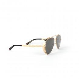 نظارة شمسية,ماركة LAMBORGHINI-Y20, موديل 596-52,للجنسين,افييتور,إطار ذهبي, عدسات اسود,خليط معدني