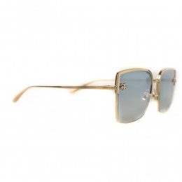 نظارة شمسية,ماركة cartier,موديل CT0199S,للنساء,مربع,ذهبي,ضد الاشعة فوق البنفسجية,لون العدسة الازرق,خليط معدني