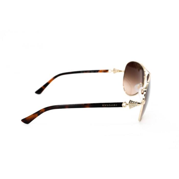 نظارة شمسية ، ماركة BVLGARI ، موديل 6073B ، نسائي ، لون الإطار ذهبي ، إطار طيار ، خامات خليط معدني ، نوع العدسة حماية من الأشعة فوق البنفسجية ، لون العدسة بني