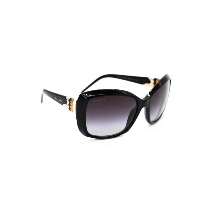 نظارة شمسية ، ماركة BVLGARI ، موديل 8133 ، للنساء ، لون الاطار اسود ، شكل الاطار مستطيل ، الخامات بلاستيك ، نوع العدسة للحماية من الاشعة فوق البنفسجية ، لون العدسة اسود