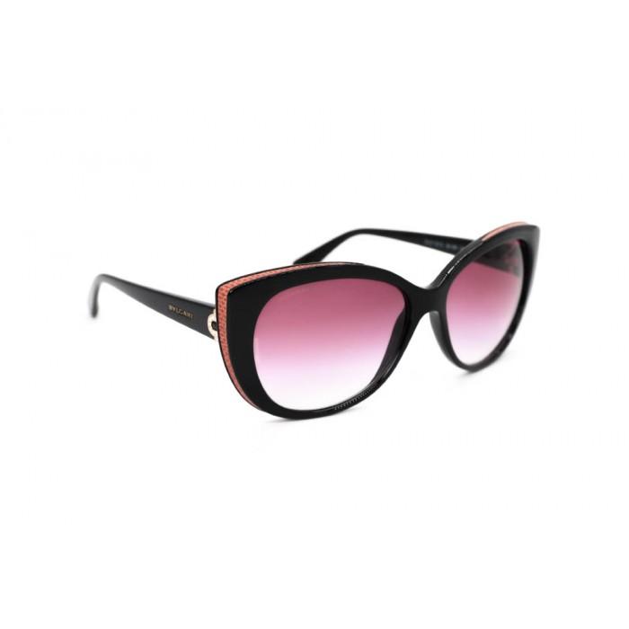 نظارة شمسية ، ماركة BVLGARI ، موديل 8157BQ ، للنساء ، لون الإطار أسود ، إطار على شكل فراشة ، مواد بلاستيكية ، نوع العدسة للحماية من الأشعة فوق البنفسجية ، لون العدسة أسود