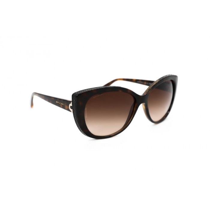 نظارة شمسية ، ماركة BVLGARI ، موديل 8157BQ ، للنساء ، لون الإطار بني ، شكل الإطار فراشة ، الخامات بلاستيك ، نوع العدسة للحماية من الأشعة فوق البنفسجية ، لون العدسة بني