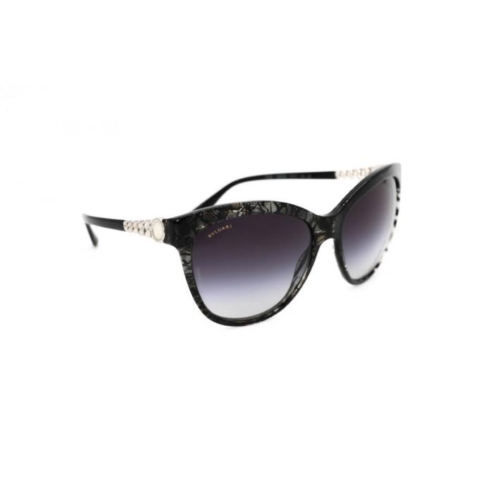 نظارة شمسية ، ماركةBVLGARI ، موديل 8158 ، نسائي ، لون الإطار أسود ، إطار على شكل فراشة ، مواد بلاستيكية ، نوع العدسة حماية من الأشعة فوق البنفسجية ، لون العدسة أسود