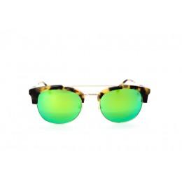 نظارة شمسية ، ماركة CAVALLO BIANCO ، موديل 505 ، للنساء ، لون الإطار ذهبي ، شكل الإطار Wayfare ، الخامات مزيج معدني ، نوع العدسة معكوسة ، لون العدسة أخضر