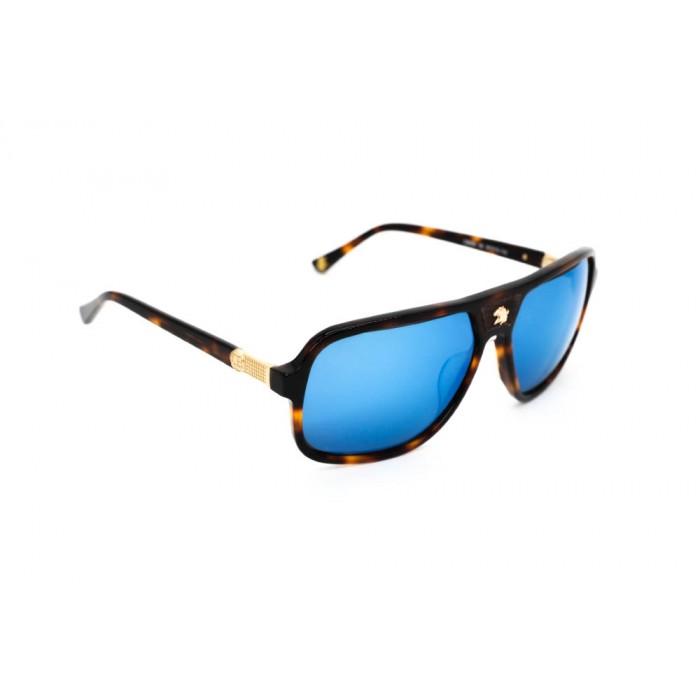 نظارة شمس ، ماركة CAVALLO BIANCO ، موديل 500 ، رجالي ، لون الاطار بني ، شكل الاطار مستطيل ، الخامات بلاستيك ، نوع العدسة معكوسة ، لون العدسة ازرق
